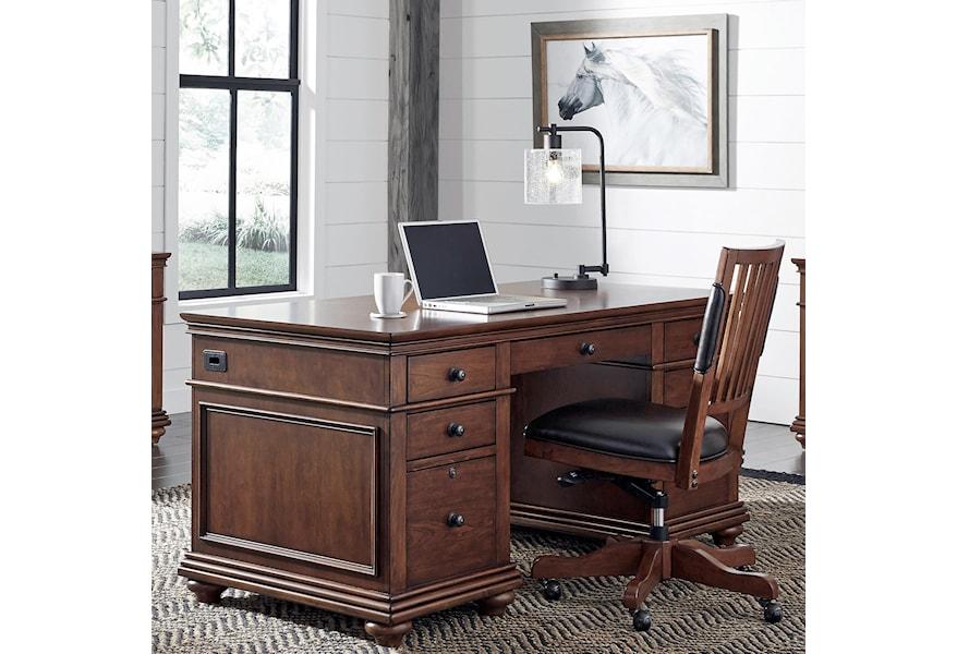 Aspenhome Oxford Executive Desk Homeworld Furniture Double