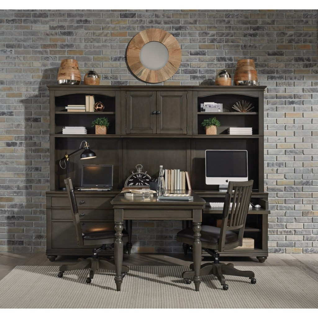 aspenhome oxford modular home office wall unit with outlets