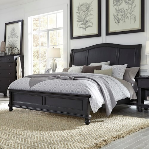Aspenhome Oxford Transitional Queen Sleigh Bed with USB Ports