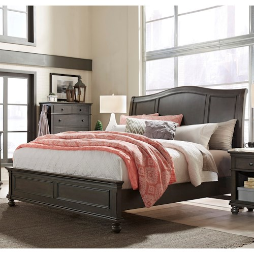 Aspenhome Oxford Transitional California King Sleigh Bed with USB Ports