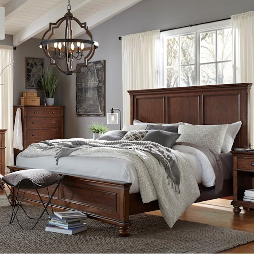 Aspenhome Oxford Transitional Queen Panel Bed with USB Ports ...