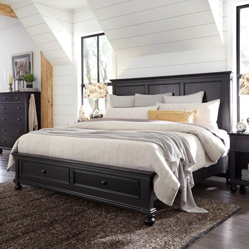 Aspenhome Oxford Transitional Queen Panel Storage Bed with USB Ports