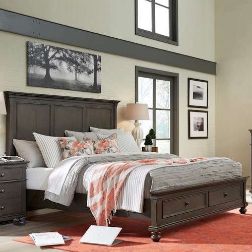 Aspenhome Oxford Transitional Queen Panel Storage Bed with USB Ports ...