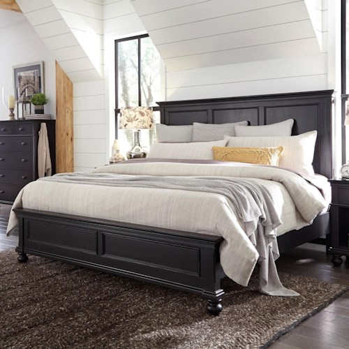 Aspenhome Oxford Transitional King Panel Bed with USB Ports