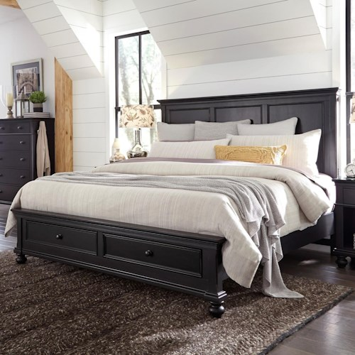 Aspenhome Oxford Transitional King Panel Storage Bed with USB Ports