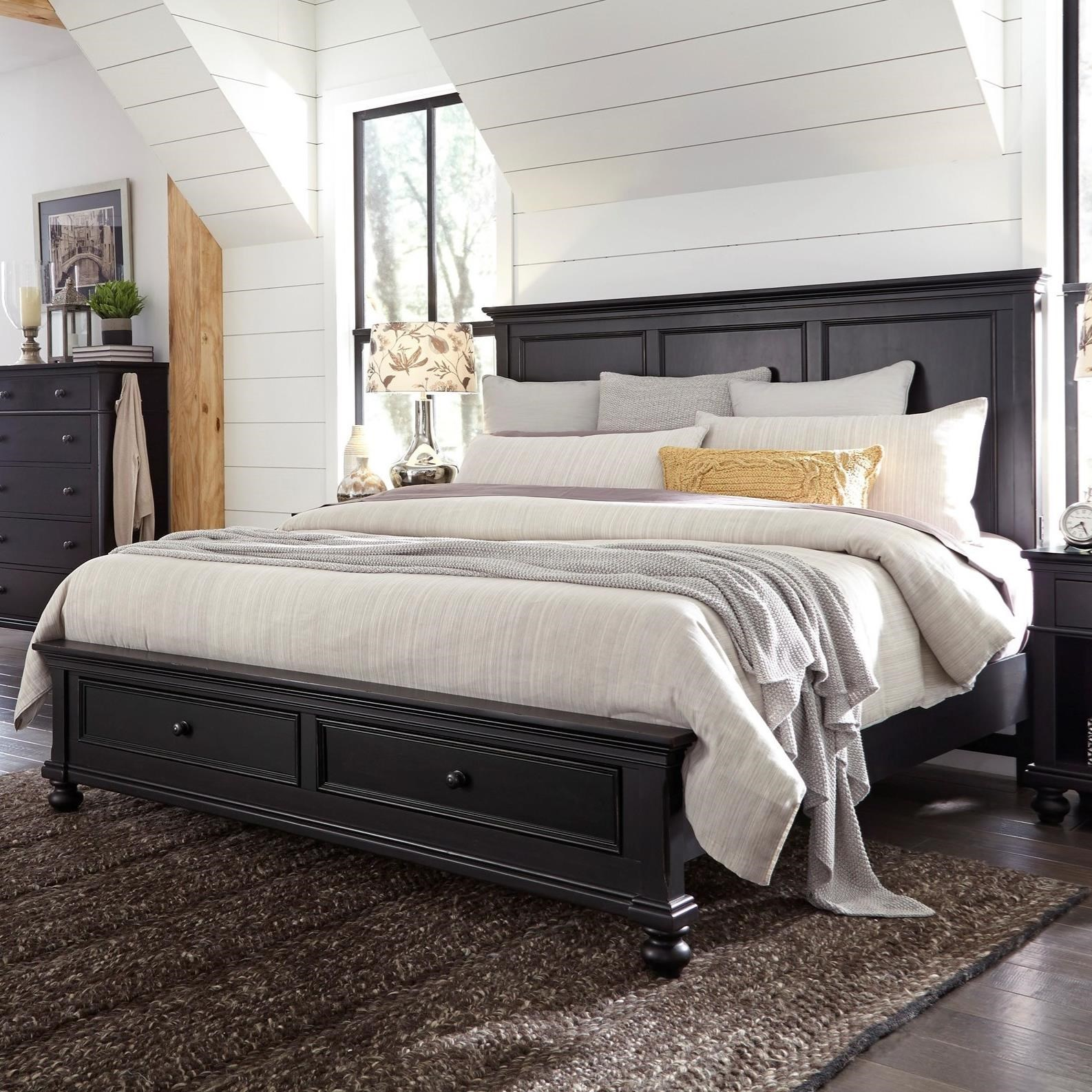 Highland Court OakfordOakford King Panel Storage Bed ...  sc 1 st  Morris Furniture & Highland Court Oakford Transitional King Panel Storage Bed with USB ...