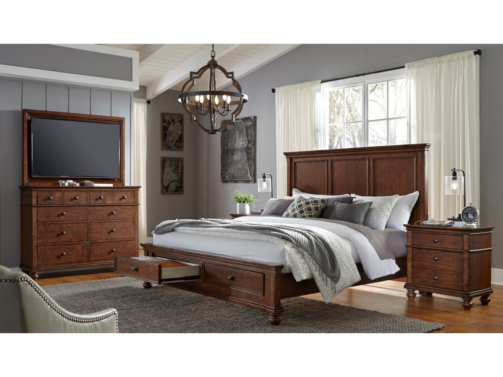 Aspenhome OxfordKing Panel Storage Bed