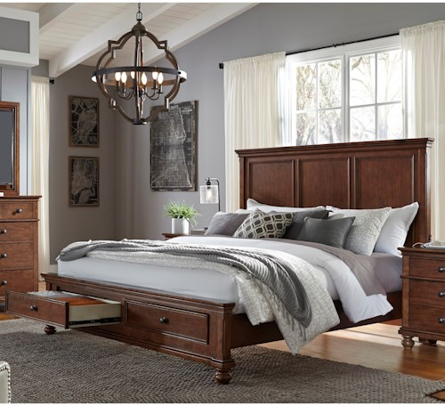 Aspenhome Oxford Transitional California King Panel Storage Bed with USB Ports