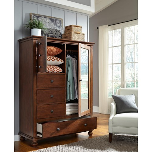 Aspenhome Oxford Transitional Door Chest with Removable Shelves and Clothing Rod