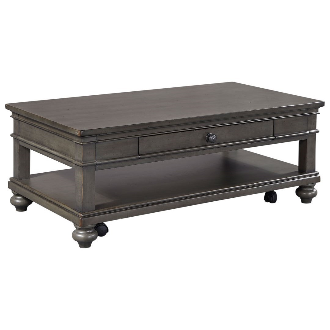 Aspenhome Oxford Cocktail Table With Casters And Drawer