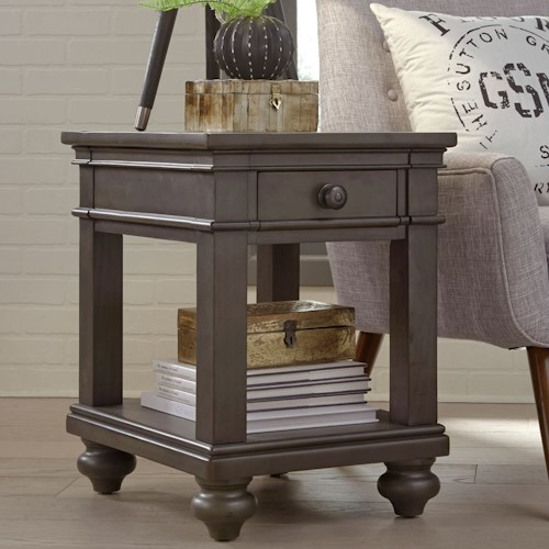 Aspenhome Oxford One Drawer Chairside Table with Turned Feet
