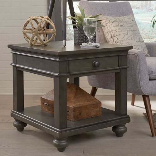 Aspenhome Oxford One Drawer End Table with Turned Feet