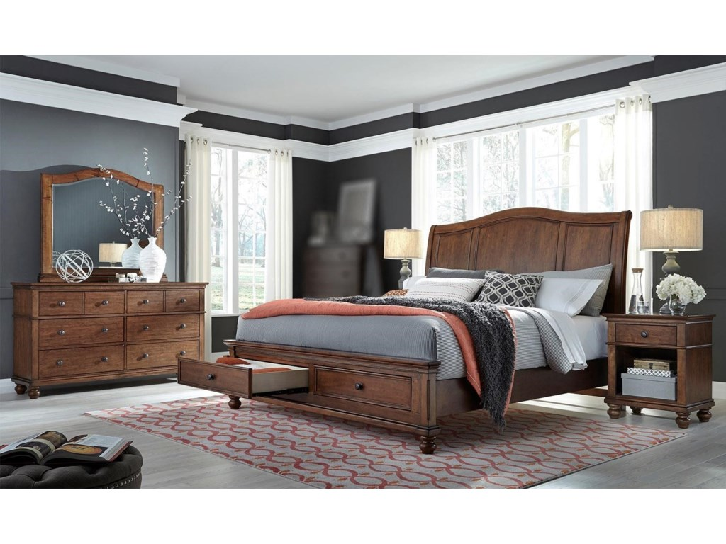 Aspenhome Landon - Whiskey Brown4PC Queen Bedroom Set