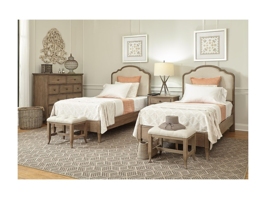 Aspenhome ProvenceTwin Upholstered Panel Bed