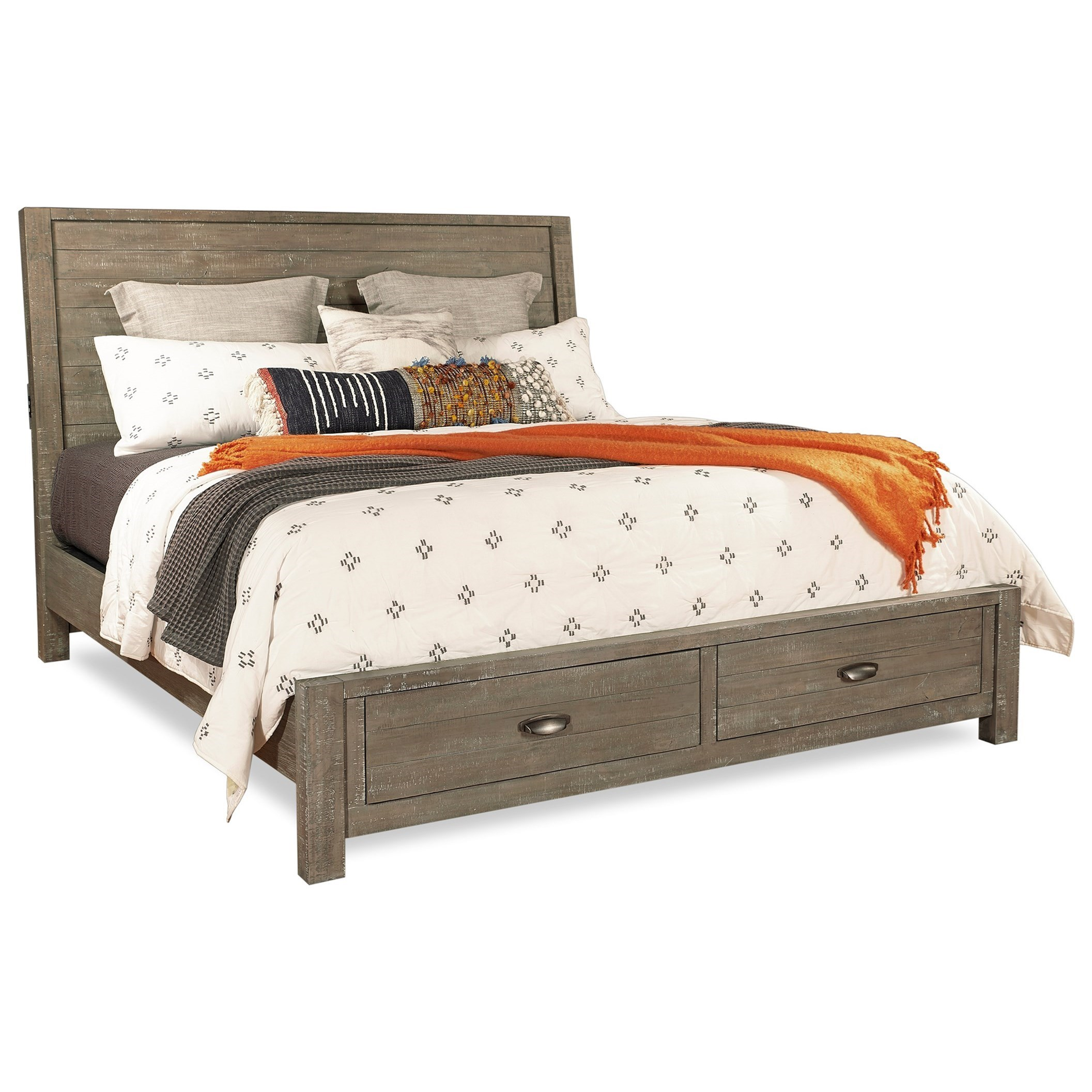 Queen Sleigh Storage Bed with Built-In USB Chargers