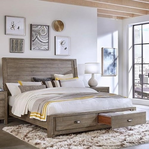 Aspenhome Radiata California King Sleigh Storage Bed with Built-In USB Chargers