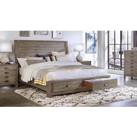 Rozet King Sleigh Storage Bed