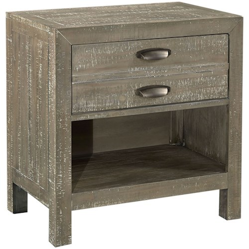 Aspenhome Radiata 1 Drawer Nightstand with Storage Shelf