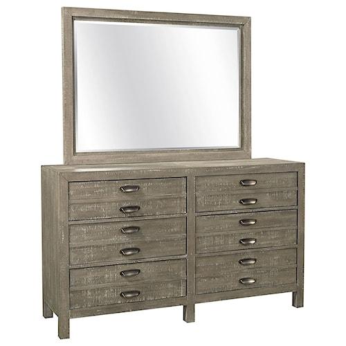 Aspenhome Radiata 6 Drawer Dresser Mirror Combo