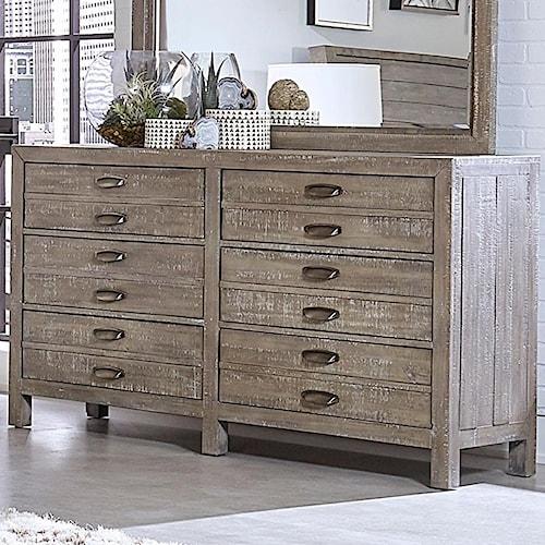 Aspenhome Radiata Rustic Six Drawer Dresser with Metal Handle Hardware