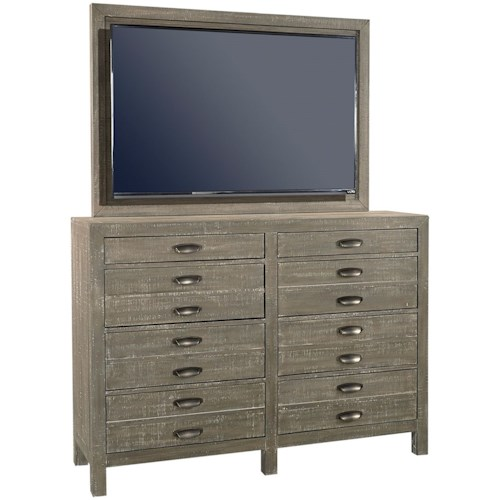 Aspenhome Radiata 8 Drawer Chesser with TV Mount