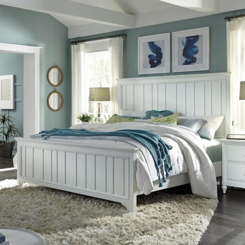 Aspenhome Retreat King Farmhouse Panel Bed with USB Charging Ports