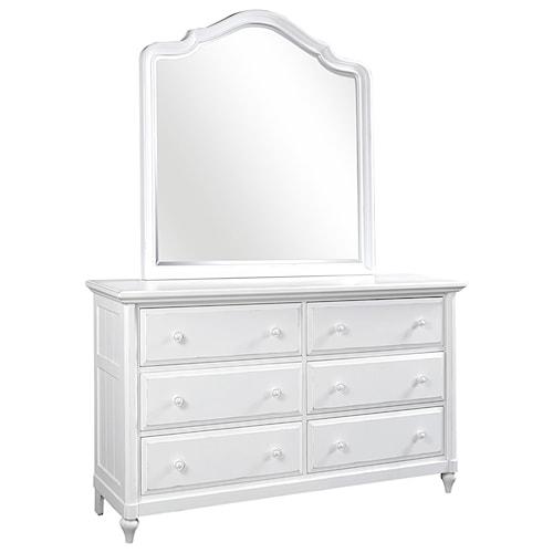 Aspenhome Retreat Six Drawer Dresser and Poster Mirror