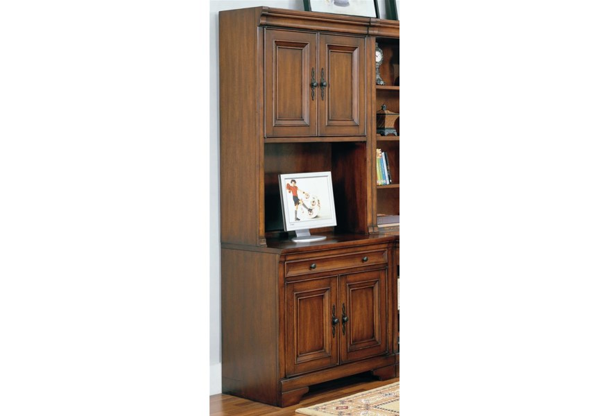 Richmond 34 Inch Credenza Computer Desk and Door Hutch by Aspenhome at Dunk  & Bright Furniture