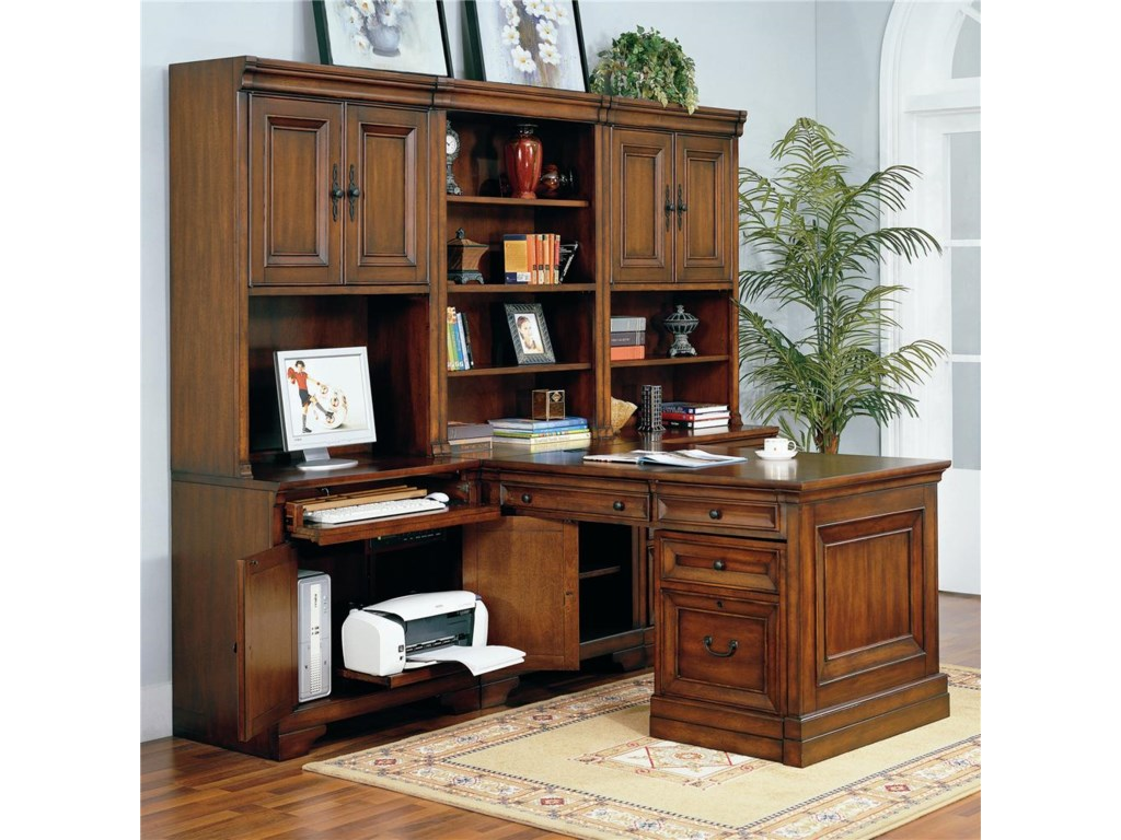 Shown with Door Hutches, Open Hutch, Drawer Unit, Rolling File, and Partner's Desk Base and Top and Side Panel.