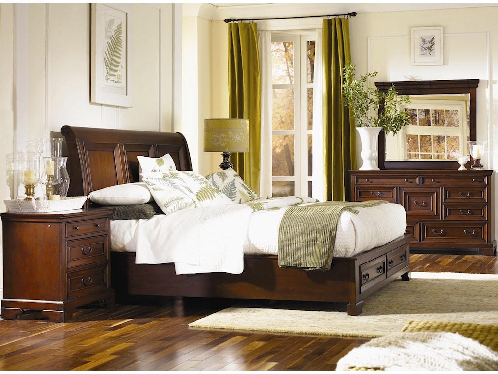 Shown with Platform Bed with Sleigh Headboard & Storage Footboard, Dresser, and Landscape Mirror