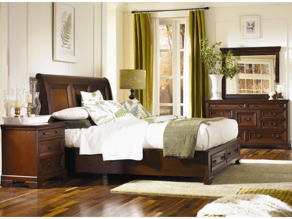 Shown with Landscape Mirror, Platform Bed with Sleigh Headboard & Storage Footboard, and Three Drawer Nightstand