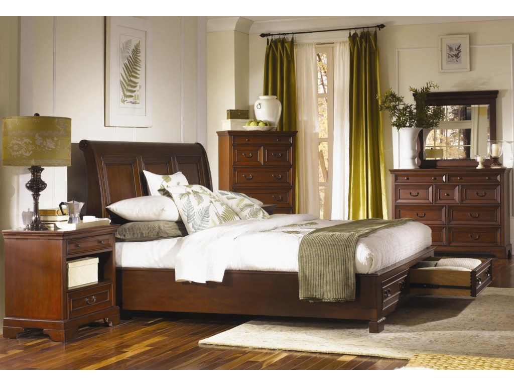 Shown with Platform Bed with Sleigh Headboard & Storage Footboard, Two Drawer Nightstand, and Chesser Mirror - Chesser Shown is No Longer Available by the Manufacturer