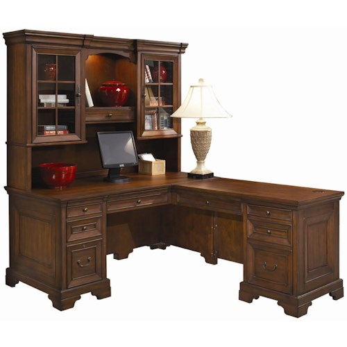 Aspenhome Richmond L-Shaped Computer Desk and Return With Hutch