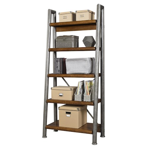 Aspenhome Rockland Leaning Metal and Wood Bookcase