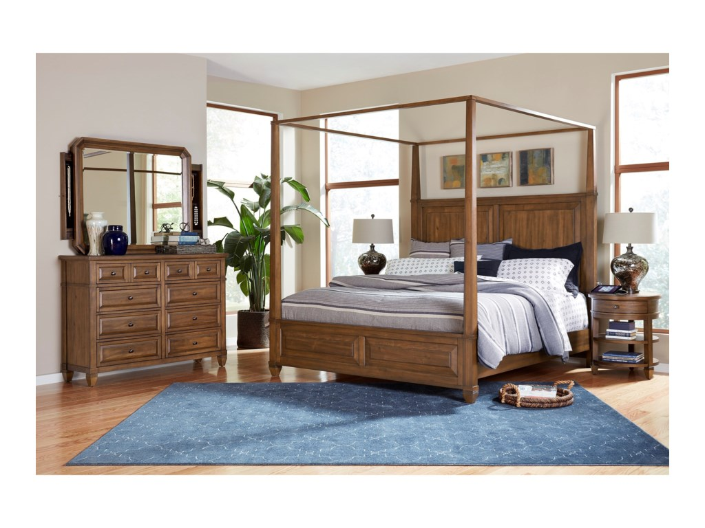 Aspenhome ThorntonQueen Canopy Bedroom Group