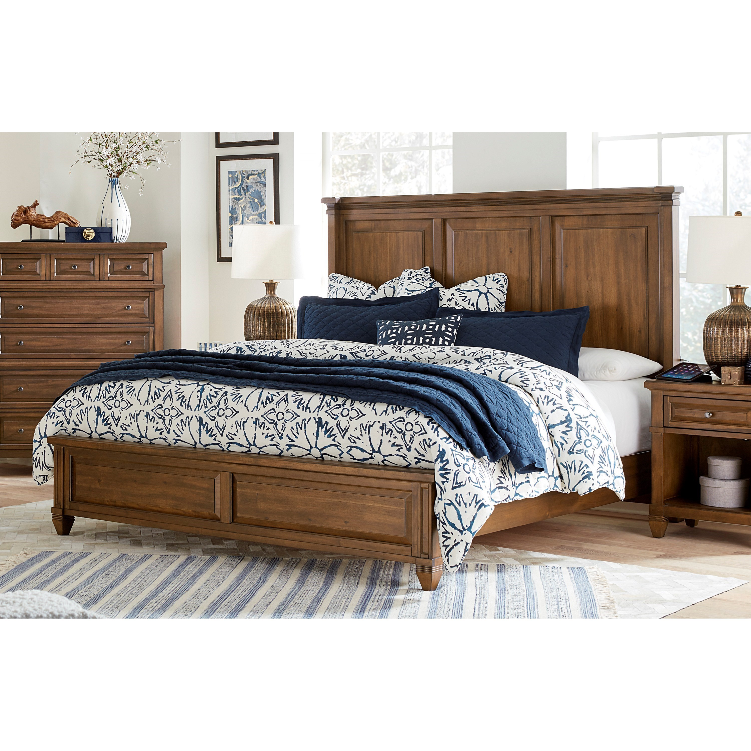 Transitional California King Panel Bed with USB Charging Ports