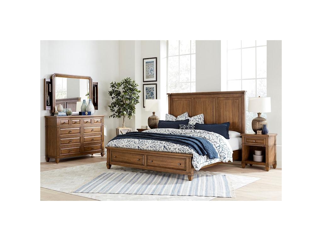 Aspenhome ThorntonQueen Panel Bed w/ Storage