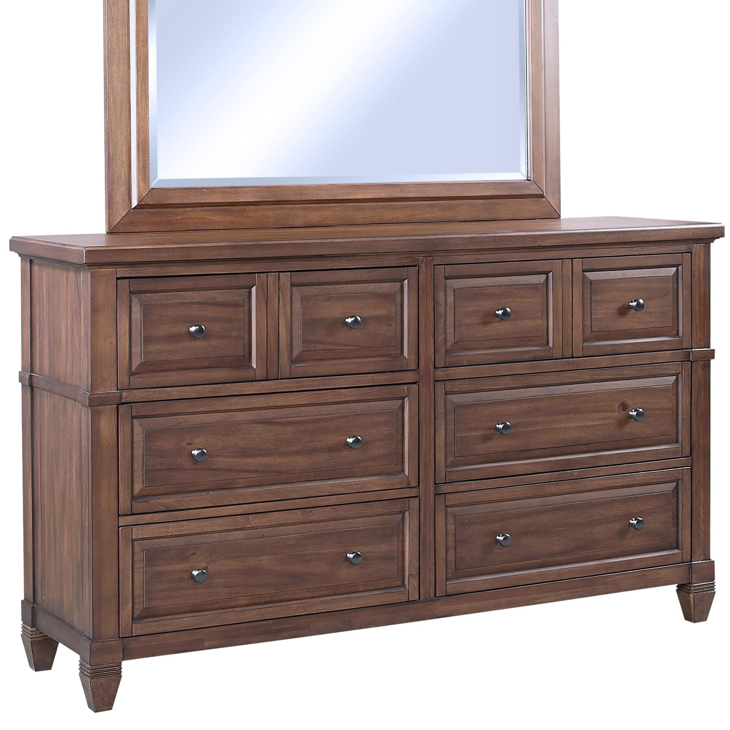 Transitional Six Drawer Dresser with Jewelry Storage