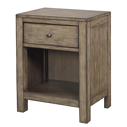 Aspenhome Tildon One Drawer Nightstand with Open Shelf