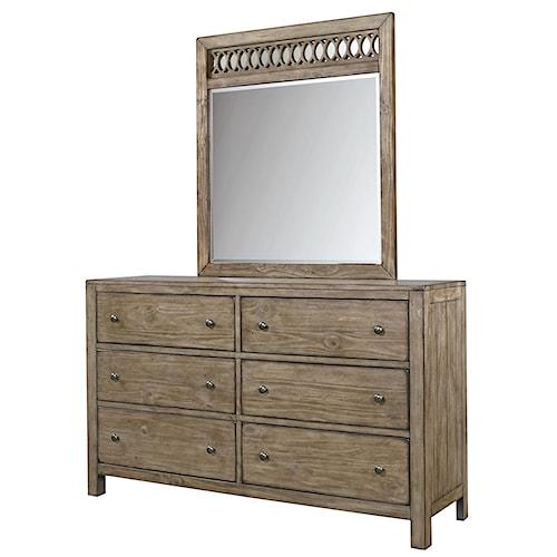 Aspenhome Tildon 6 Drawer Dresser and Fret Mirror