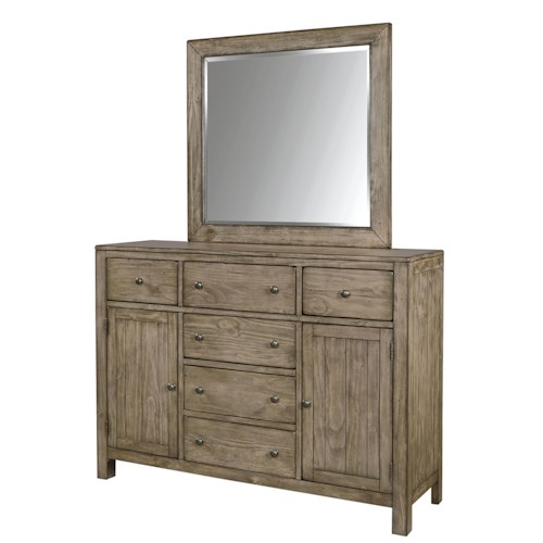 Aspenhome Tildon 6 Drawer and 2 Door Chesser with Landscape Mirror