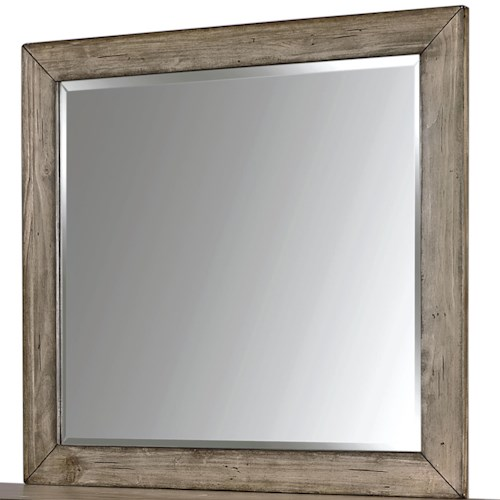 Aspenhome Tildon Landscape Mirror with Beveled Edge and Wood Frame