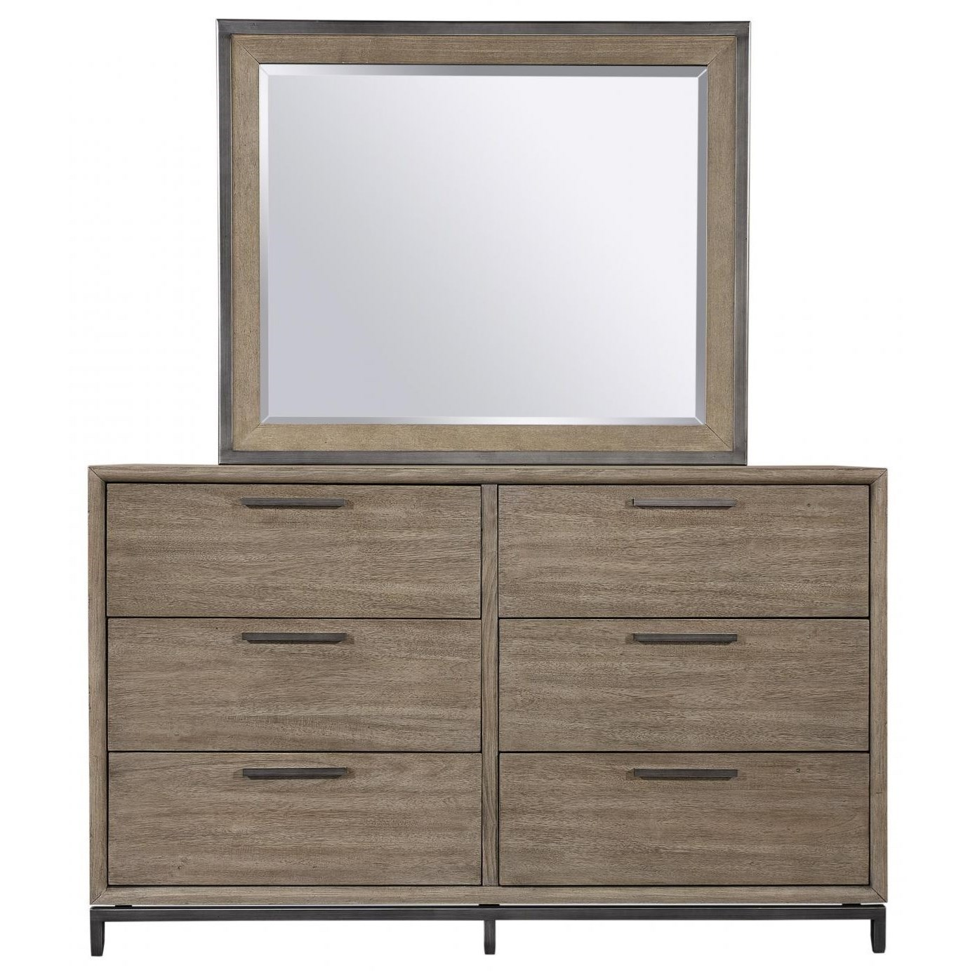 Transitional Dresser and Mirror Set with Felt-Lined Top Drawers