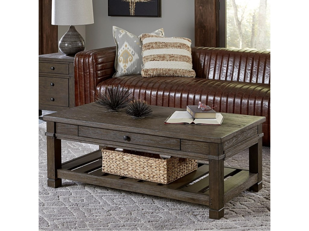 Aspen Home Coffee Table.Tucker 1 Drawer Cocktail Table With Slotted Shelf By Aspenhome At Hudson S Furniture