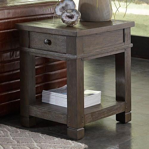 Aspenhome Tucker 1 Drawer Chairside Table with Open Shelf