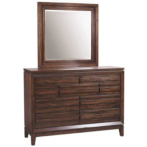 Aspenhome Walnut Park 9 Drawer Chesser with Square Mirror