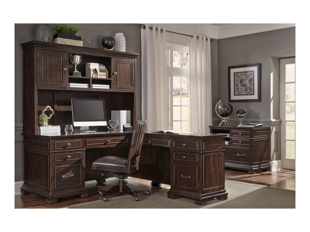 Aspenhome WestonL-Shaped Desk with Hutch