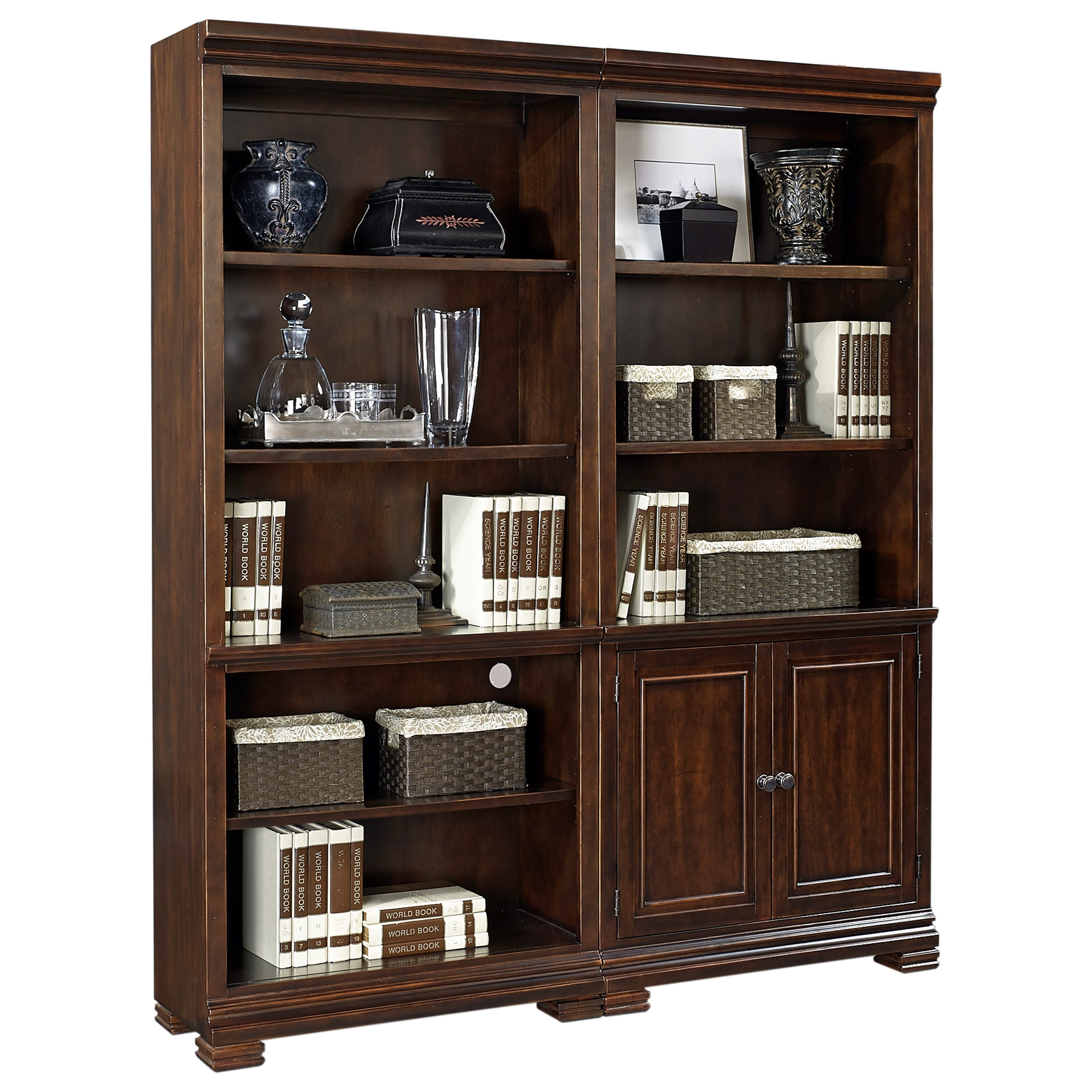 Bookcase Wall with Cord Access