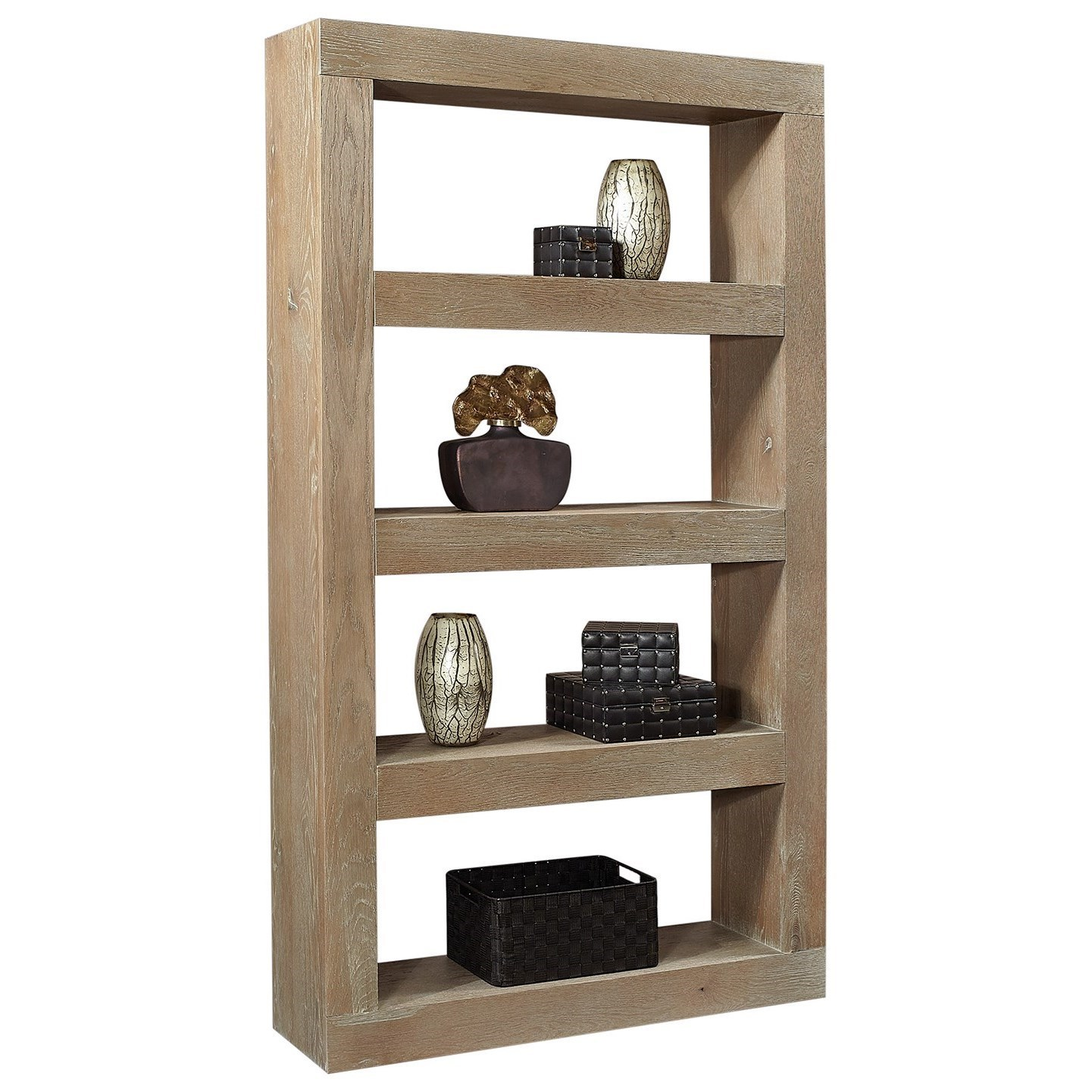 """Transitional 83"""" Open Display Case with 4 Shelves"""
