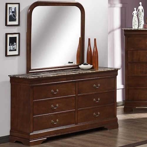 Austin Group Marseille 6-Drawer Dresser with Faux Marble Top and Dresser Mirror
